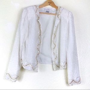 🔴 White Gold Beaded Sequin Crop Jacket